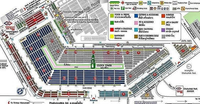 Map over Chatuchak Market in Bangkok